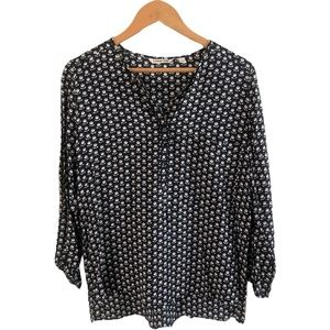 Country Road XS Navy & White Blouse 100% Modal